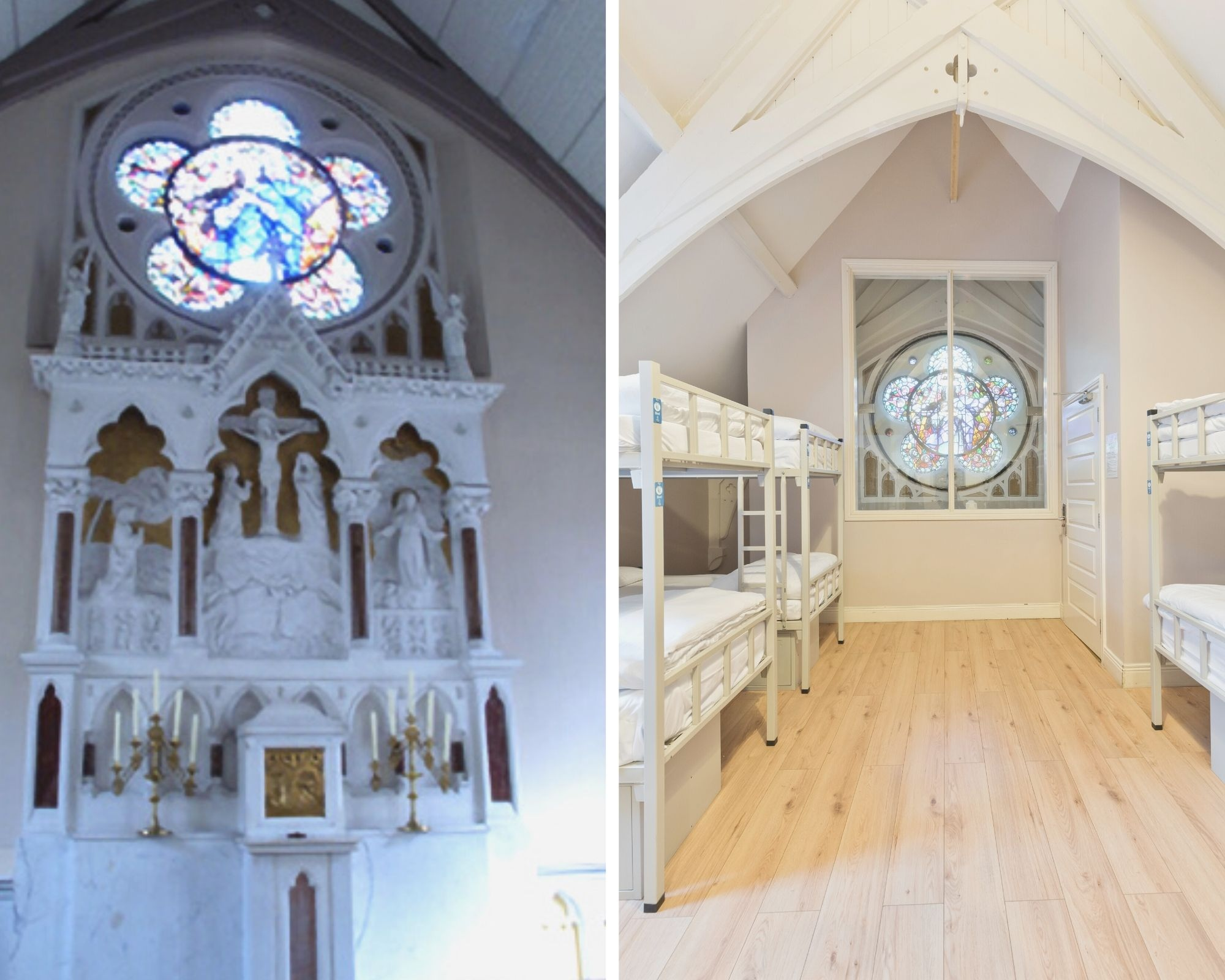 Two pictures comparing the original and renovated Chapel structure