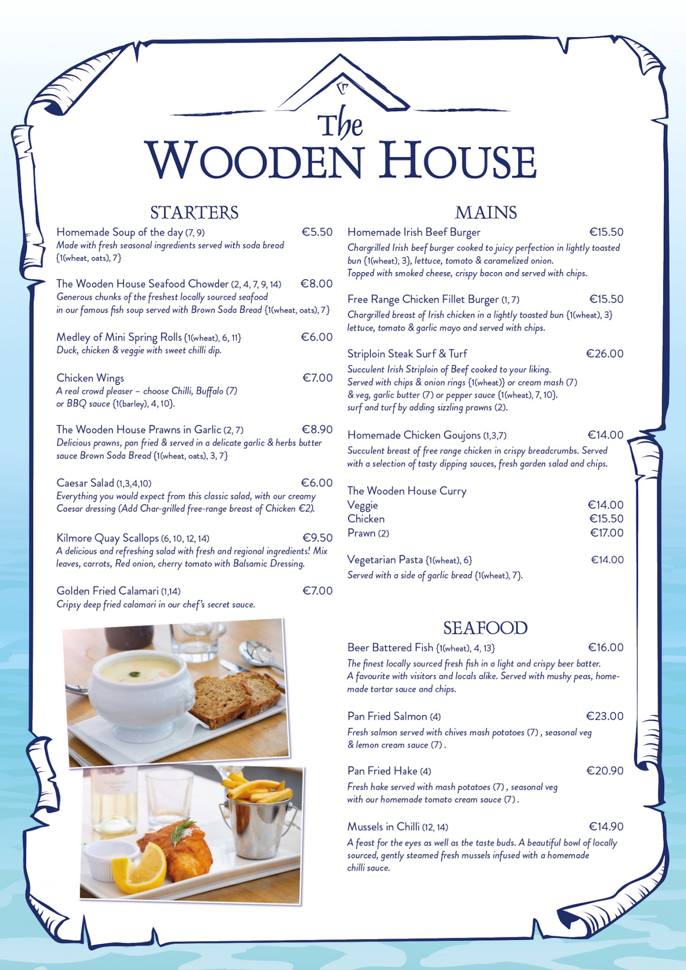 WH Bar & Restaurant menu